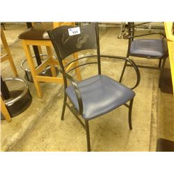 GREY STEEL FRAMED BLUE COMMERCIAL GRADE BISTRO CHAIR C/W ARMS