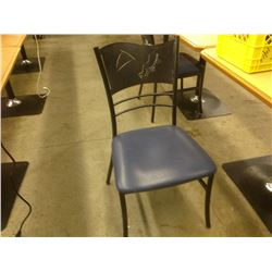 GREY STEEL FRAMED BLUE COMMERCIAL GRADE BISTRO CHAIR NO ARMS