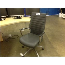 GLOBAL ACCORD CHROME FRAMED GREY LOOP ARM EXECUTIVE CHAIR