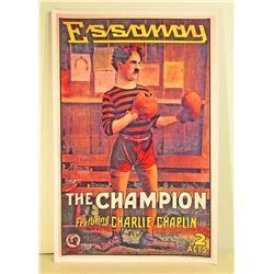 CHARLIE CHAPLIN THE CHAMPION MOVIE POSTER PRINT