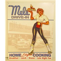MELS DRIVE IN PIN UP GIRL ADVERTISING METAL SIGN