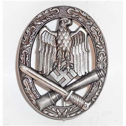 NAZI GERMAN ARMY SILVER GENERAL ASSAULT BADGE