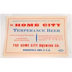 VINTAGE HOME CITY TEMPERANCE BEER BOTTLE ADVERTISING LABEL