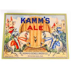 VINTAGE KAMMS ALE BEER BOTTLE ADVERTISING LABEL