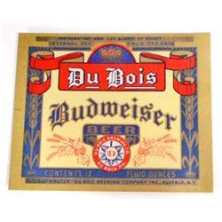 VINTAGE DU BOIS BUDWEISER BEER BOTTLE ADVERTISING LABEL