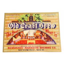 VINTAGE OLD CRAFT BREW BEER BOTTLE ADVERTISING LABEL