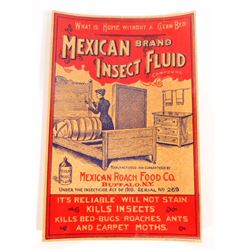 MEXICAN BRAND INSECT FLUID ADVERTISING LABEL