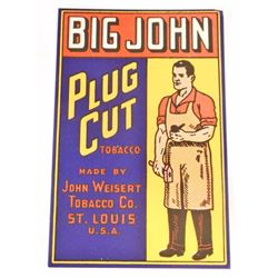 VINTAGE BIG JOHN PLUG CUT TOBACCO ADVERTISING LABEL