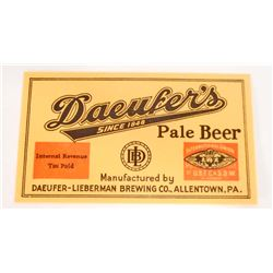 VINTAGE DAEUKERS PALE BEER BOTTLE ADVERTISING LABEL
