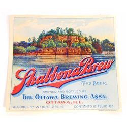 VINTAGE SHABBONA BREW BEER BOTTLE ADVERTISING LABEL