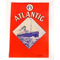 VINTAGE ATLANTIC BROOM HANDLE ADVERTISING LABEL