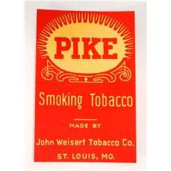 VINTAGE PIKE SMOKING TOBACCO ADVERTISING LABEL