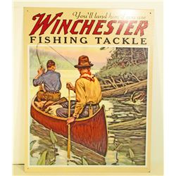 WINCHESTER FISHING TACKLE ADVERTISING METAL SIGN