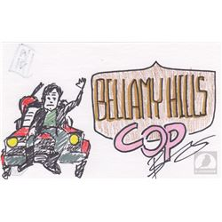 "The 100 ""Bellamy Hills Cop"" Character Doodle Signed by Bob Morley"