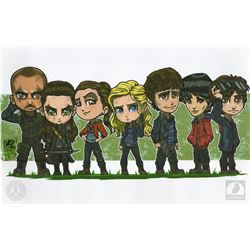 The 100 Cast Caricature Art Print by Lord Mesa