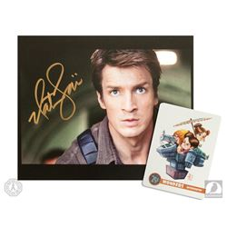 "Firefly Nathan Fillion Signed Photo & Funko Pop! Figure with ""Misbehavin"" Postcard Art Print"
