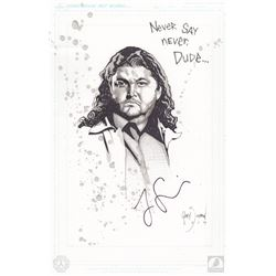"LOST One-Of-A-Kind Hurley ""Never Say Never Dude"" Gary Shipman Drawing Signed by Jorge Garcia"