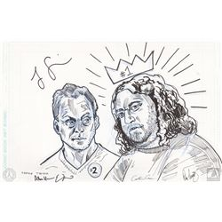 "LOST One-Of-A-Kind Ben & Hurley ""#1 & #2"" Tim Doyle Drawing Signed by Jorge Garcia & 4 Producers"