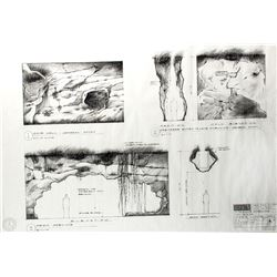 LOST Season One Set of 4 Original Cave Dwelling Production Blueprints