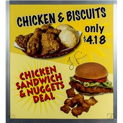 LOST Authentic Screen-Used Mr. Cluck's Chicken Shack Sign Signed by Jorge Garcia