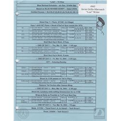 "LOST ""Pilot"" Original Call Sheet & Schedules"