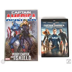 Marvel Captain America Comic Book Signed by Hayley Atwell & DVD Signed by Maximiliano Hernandez