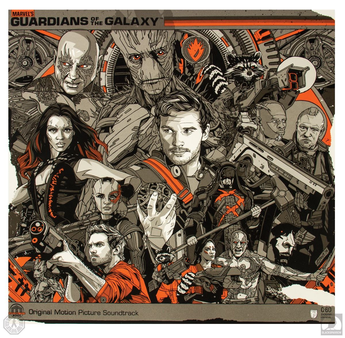 marvel guardians of the galaxy limited edition vinyl record mondo lp awesome mix vol 1