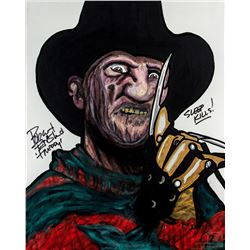 A Nightmare on Elm Street Custom Freddy Krueger Painting Signed by Robert Englund