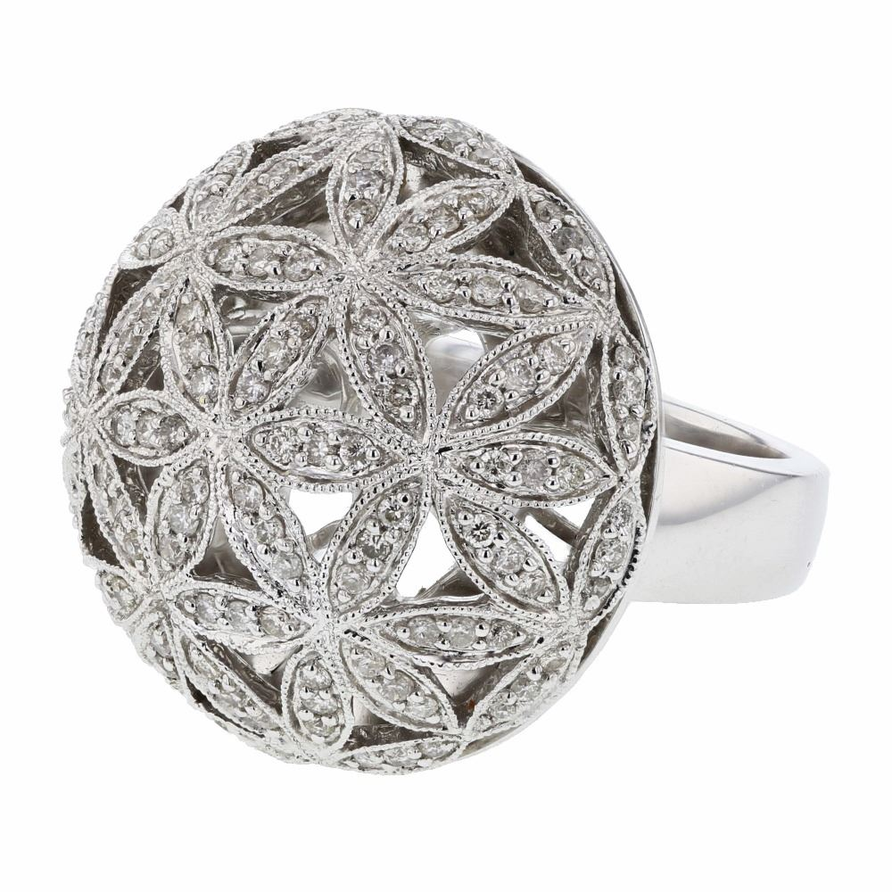 Dome Shaped Bands: Dome-Shaped Floral Design Diamond Ring In 14K White Gold