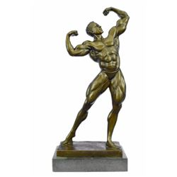 Bodybuilder Muscular bronze Figurine on marble base