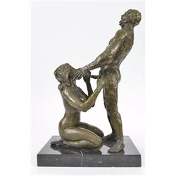 "Erotic Sculpture Nude Sex On Marble Base Figurine (14""X9"")"
