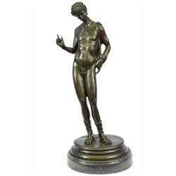 Nude Erotic Male Bronze Sculpture on marble base