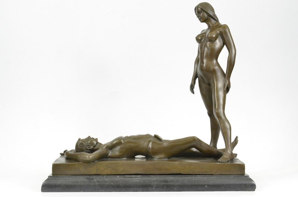 and man Bronze nude woman sculpture