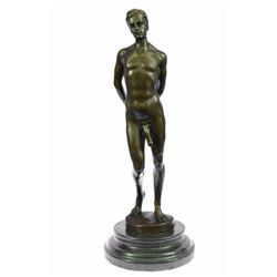 Nude Male bronze Statue on marble base