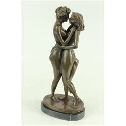 Two Lesbian Lover Kissing Bronze Sculpture on marble base