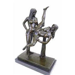 "Two Sexy Woman With Strap On Bronze Sculpture (15""11"")"