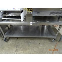 S/S 6' Rolling Equipment Stand w/Undershelf
