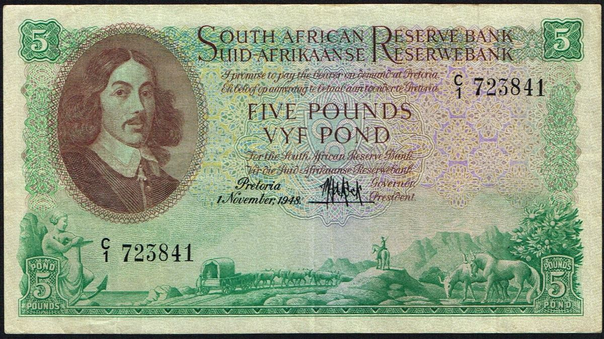 Image 1 South Africa 5 Pounds 1948 Pick 94