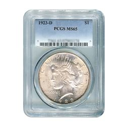 1923-D $1 Peace Silver Dollar - PCGS MS65