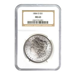 1884-O $1 Morgan Silver Dollar - NGC MS63