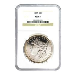 1887 $1 Morgan Silver Dollar - NGC MS63