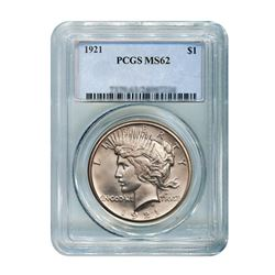1921 $1 Peace Silver Dollar PCGS MS62