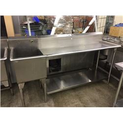 SINGLE BAY STAINLESS STEEL WASH SINK/PREP STATION