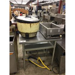 STAINLESS PREP TABLE & 2 ASSORTED WARMERS
