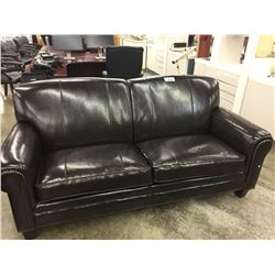 Brown faux leather studded couch able auctions for Leather studded couch
