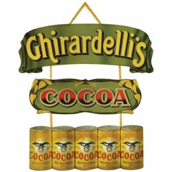 Extremely Rare Ghiradelli Cocoa Die Cut Tin Sign