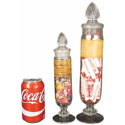 Two Very Small Columbia Cylinder Candy Jars
