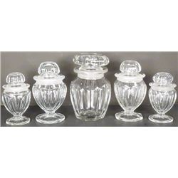 Collection of Five Glass Candy Jars