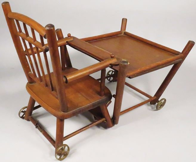 ... Image 2 : Antique Child's / Doll Convertible High Chair ... - Antique Child's / Doll Convertible High Chair