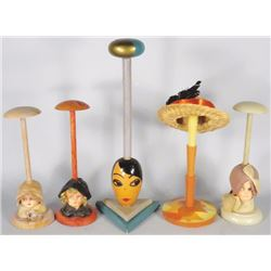 Collection of 5 Millinery Store Hat Stands